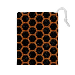Hexagon2 Black Marble & Rusted Metal (r) Drawstring Pouches (large)  by trendistuff