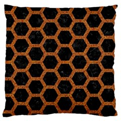 HEXAGON2 BLACK MARBLE & RUSTED METAL (R) Large Flano Cushion Case (Two Sides)