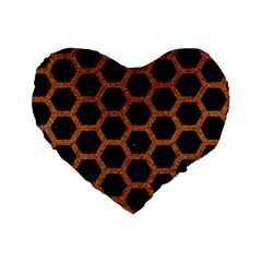 HEXAGON2 BLACK MARBLE & RUSTED METAL (R) Standard 16  Premium Flano Heart Shape Cushions