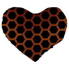 HEXAGON2 BLACK MARBLE & RUSTED METAL (R) Large 19  Premium Flano Heart Shape Cushions