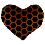 HEXAGON2 BLACK MARBLE & RUSTED METAL (R) Large 19  Premium Flano Heart Shape Cushions Front