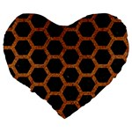HEXAGON2 BLACK MARBLE & RUSTED METAL (R) Large 19  Premium Flano Heart Shape Cushions Back