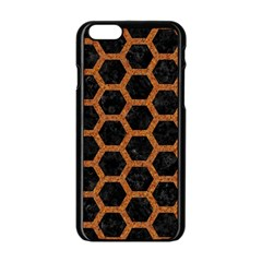 Hexagon2 Black Marble & Rusted Metal (r) Apple Iphone 6/6s Black Enamel Case by trendistuff