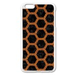 HEXAGON2 BLACK MARBLE & RUSTED METAL (R) Apple iPhone 6 Plus/6S Plus Enamel White Case Front