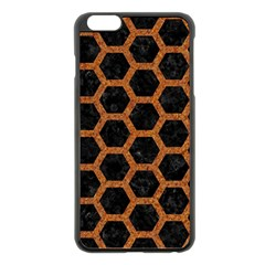 HEXAGON2 BLACK MARBLE & RUSTED METAL (R) Apple iPhone 6 Plus/6S Plus Black Enamel Case