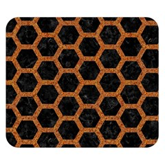 HEXAGON2 BLACK MARBLE & RUSTED METAL (R) Double Sided Flano Blanket (Small)