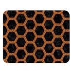 HEXAGON2 BLACK MARBLE & RUSTED METAL (R) Double Sided Flano Blanket (Large)  80 x60 Blanket Front
