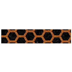 HEXAGON2 BLACK MARBLE & RUSTED METAL (R) Flano Scarf (Small)