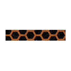 HEXAGON2 BLACK MARBLE & RUSTED METAL (R) Flano Scarf (Mini)
