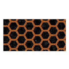 HEXAGON2 BLACK MARBLE & RUSTED METAL (R) Satin Shawl