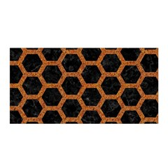 HEXAGON2 BLACK MARBLE & RUSTED METAL (R) Satin Wrap