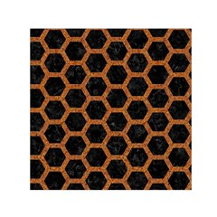 HEXAGON2 BLACK MARBLE & RUSTED METAL (R) Small Satin Scarf (Square)