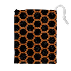 HEXAGON2 BLACK MARBLE & RUSTED METAL (R) Drawstring Pouches (Extra Large)