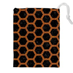 HEXAGON2 BLACK MARBLE & RUSTED METAL (R) Drawstring Pouches (XXL)