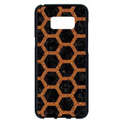 HEXAGON2 BLACK MARBLE & RUSTED METAL (R) Samsung Galaxy S8 Plus Black Seamless Case