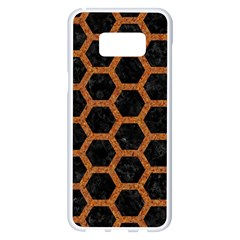 HEXAGON2 BLACK MARBLE & RUSTED METAL (R) Samsung Galaxy S8 Plus White Seamless Case
