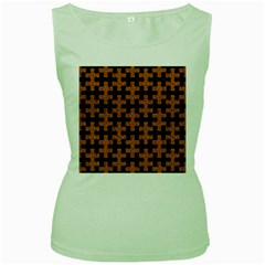 Puzzle1 Black Marble & Rusted Metal Women s Green Tank Top by trendistuff