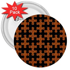 Puzzle1 Black Marble & Rusted Metal 3  Buttons (10 Pack)  by trendistuff