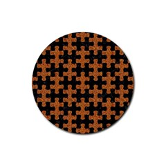 Puzzle1 Black Marble & Rusted Metal Rubber Round Coaster (4 Pack)  by trendistuff