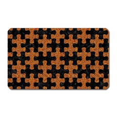 Puzzle1 Black Marble & Rusted Metal Magnet (rectangular) by trendistuff