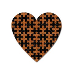 Puzzle1 Black Marble & Rusted Metal Heart Magnet by trendistuff