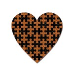 PUZZLE1 BLACK MARBLE & RUSTED METAL Heart Magnet Front
