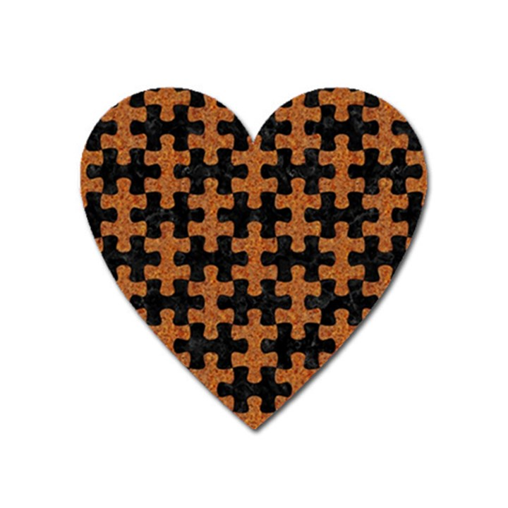 PUZZLE1 BLACK MARBLE & RUSTED METAL Heart Magnet