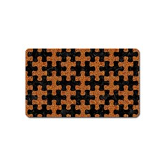 Puzzle1 Black Marble & Rusted Metal Magnet (name Card) by trendistuff