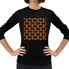 Puzzle1 Black Marble & Rusted Metal Women s Long Sleeve Dark T Shirts