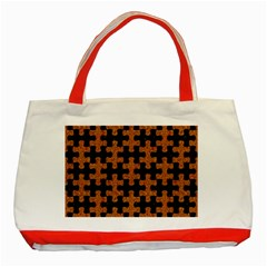 Puzzle1 Black Marble & Rusted Metal Classic Tote Bag (red) by trendistuff
