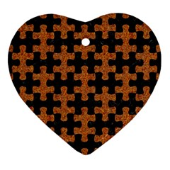 Puzzle1 Black Marble & Rusted Metal Heart Ornament (two Sides) by trendistuff