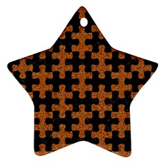 Puzzle1 Black Marble & Rusted Metal Star Ornament (two Sides) by trendistuff