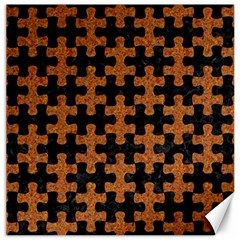 Puzzle1 Black Marble & Rusted Metal Canvas 12  X 12