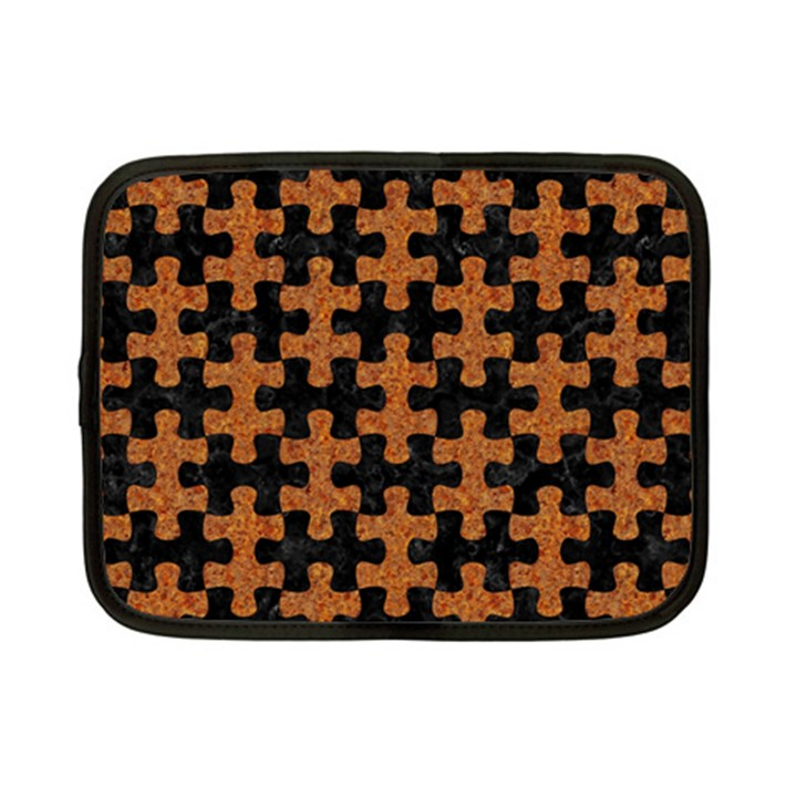 PUZZLE1 BLACK MARBLE & RUSTED METAL Netbook Case (Small)