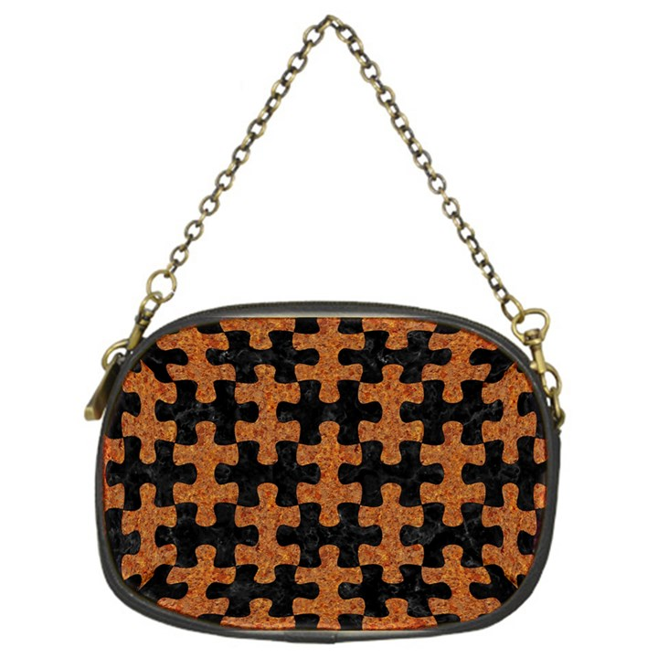 PUZZLE1 BLACK MARBLE & RUSTED METAL Chain Purses (One Side)