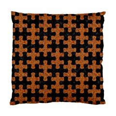 Puzzle1 Black Marble & Rusted Metal Standard Cushion Case (two Sides) by trendistuff