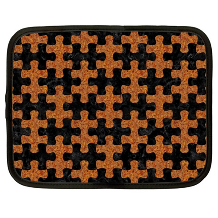 PUZZLE1 BLACK MARBLE & RUSTED METAL Netbook Case (XL)