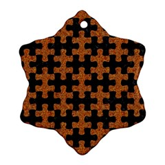 Puzzle1 Black Marble & Rusted Metal Ornament (snowflake) by trendistuff