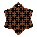 PUZZLE1 BLACK MARBLE & RUSTED METAL Snowflake Ornament (Two Sides) Front