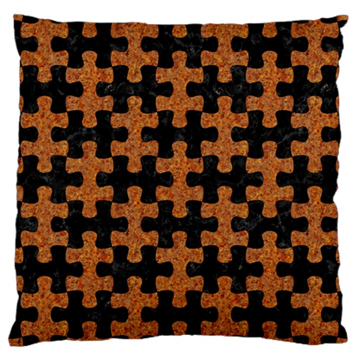 PUZZLE1 BLACK MARBLE & RUSTED METAL Large Cushion Case (One Side)