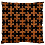 PUZZLE1 BLACK MARBLE & RUSTED METAL Large Cushion Case (Two Sides) Back