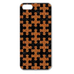 Puzzle1 Black Marble & Rusted Metal Apple Seamless Iphone 5 Case (clear) by trendistuff