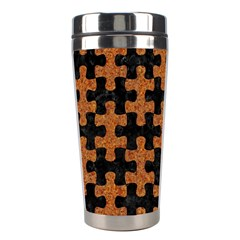 Puzzle1 Black Marble & Rusted Metal Stainless Steel Travel Tumblers by trendistuff