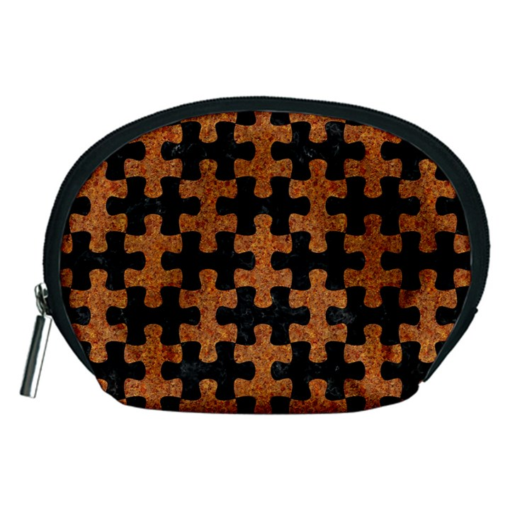 PUZZLE1 BLACK MARBLE & RUSTED METAL Accessory Pouches (Medium)