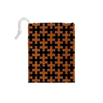 PUZZLE1 BLACK MARBLE & RUSTED METAL Drawstring Pouches (Small)  Back