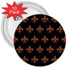 Royal1 Black Marble & Rusted Metal 3  Buttons (10 Pack)  by trendistuff