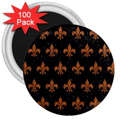 Royal1 Black Marble & Rusted Metal 3  Magnets (100 Pack) by trendistuff