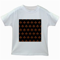 Royal1 Black Marble & Rusted Metal Kids White T Shirts