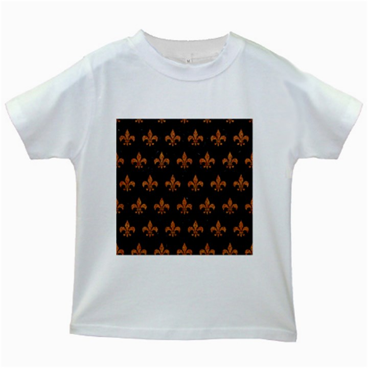 ROYAL1 BLACK MARBLE & RUSTED METAL Kids White T-Shirts