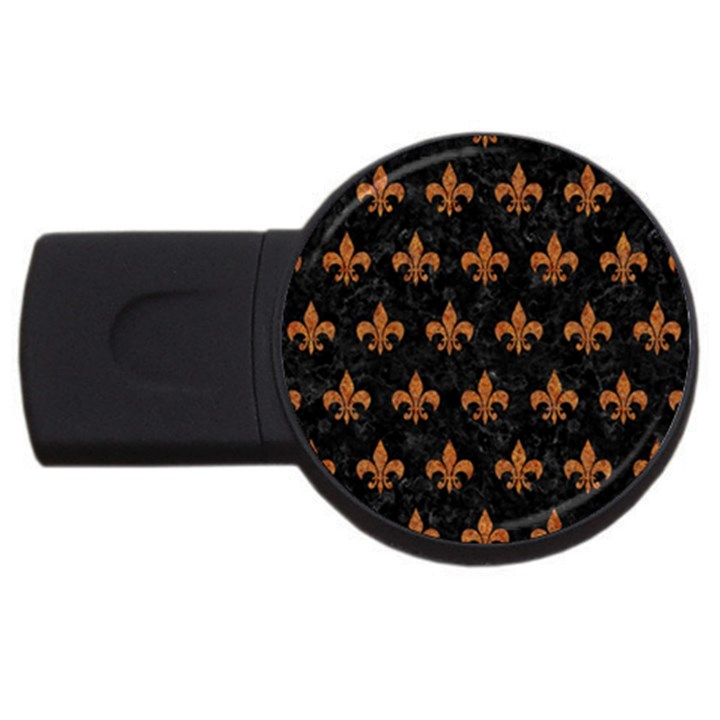 ROYAL1 BLACK MARBLE & RUSTED METAL USB Flash Drive Round (4 GB)
